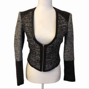 H&M Faux Leather Cropped Tweed Moto Jacket 6